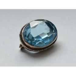 brosa vintage argint cristal blue