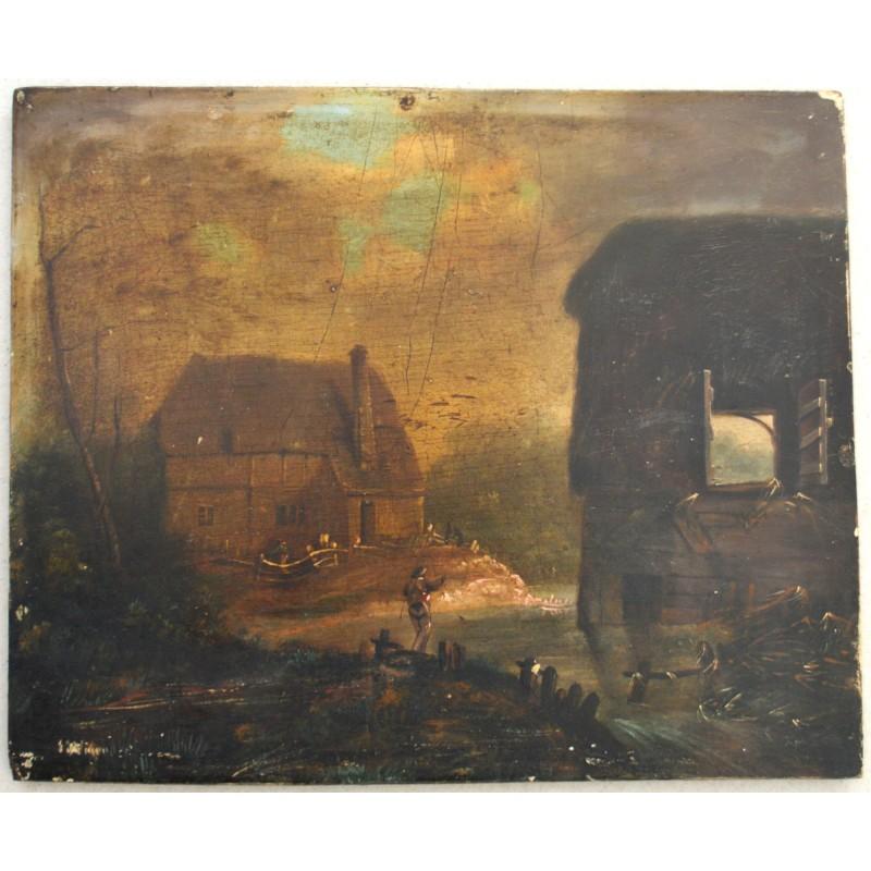 pictura veche ulei pe blat de lemn secol 18
