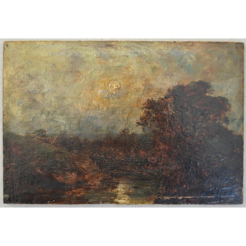 pictura ulei pe blat de lemn secol 19