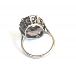 inel vechi argint cuart fumuriu