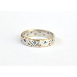 inel aur argint cu safire