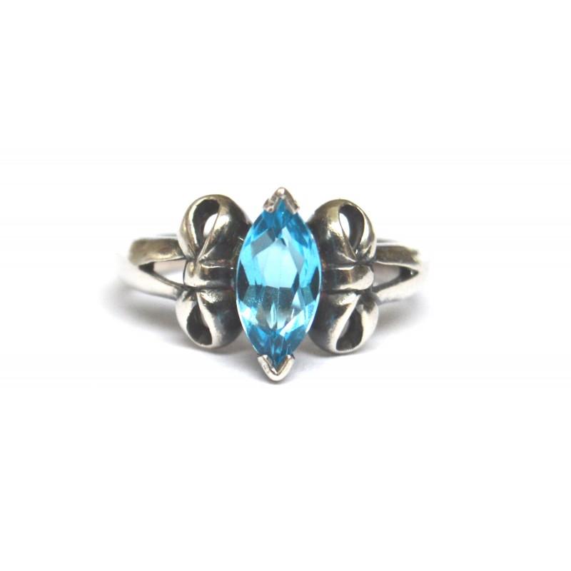 inel argint cu piatra london blue topaz