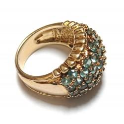 inel argint aurit cu cristale bleu