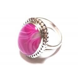 inel argint cu agat roz de Botswana
