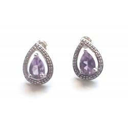 cercei argint cu diamant si ametist